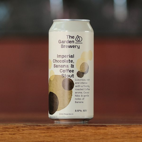 The Garden Brewery can of craft beer Imperial Chocolate, Banana and Coffee Stout with watercolour dots in cream, vanilla and brown on the label.