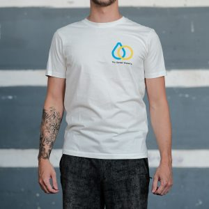 The Garden Brewery white T-shirt with yellow and blue icon on the left side of the chest.
