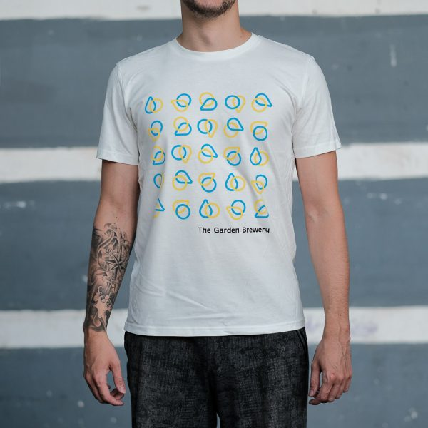 The Garden Brewery white T-shirt with blue and yellow icons at the front.