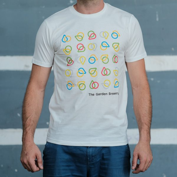 The Garden Brewery white T-shirt with multicolour icons at the front.