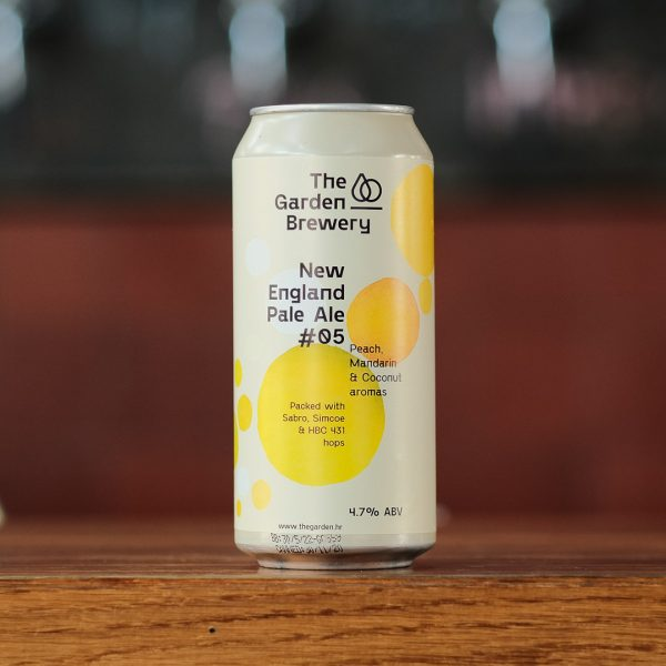 The Garden Brewery can of craft beer New England Pale Ale #05 with label artwork in cream, orange and yellow water coloured spots.