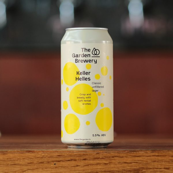 The Garden Brewery can of craft beer Keller Helles with label artwork in cream and yellow watercoloured spots.