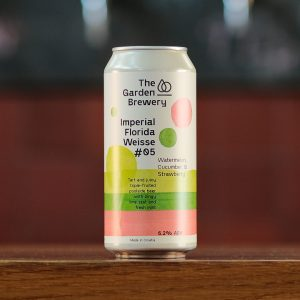 Can of craft beer Imperial Florida Weisse #05 Watermelon, Cucumber & Strawberry with lime, green and pink watercolour artwork.