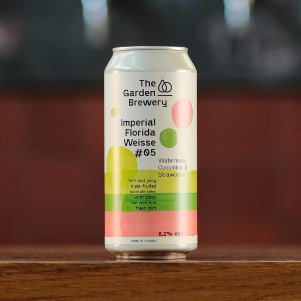 The Garden Brewery can of craft beer Imperial Florida Weisse #05 Watermelon, Cucumber & Strawberry with lime, green and pink watercolour artwork.